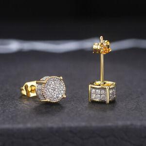 Men's Earrings 14k Gold Stud  Silver Zircon 11mm Hip Hop