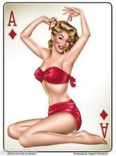 Sexy Redhead on Her Back Ace of Diamonds Bombshell Nose Art Vinyl Sticker