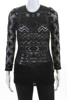 Isabel Marant For H+M Womens Long Sleeve Crew Neck Lace Blouse Top Black Size 2