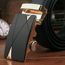 Luxury Gold Metal Men's Automatic Buckle Fashion NO Waist Strap Belt Waistband#