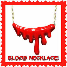 DRIPPING BLOOD NECKLACE~Gothic~Zombie Vampire Horror Halloween Costume Cosplay