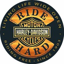 Harley-Davidson® 14 Round Sign Ride Hard Ar2010671 Tin Garden & Patio Home Décor