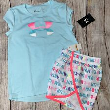 Under Armour 4 5 6 6x Rainbow Wordmark Shorts Athletic Outfit NEW