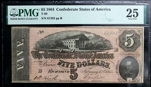 T-69 $5 1864 Confederate Currency CSA PMG 25 VERY FINE NICE CLEAN NOTE