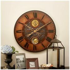 "NEW 23"" WEATHERED FACE BRASS LAMINATED ROUND WALL CLOCK  PENDULUM VINTAGE LOOK"