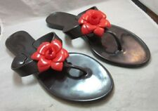 Plastic rubber sandals. Size L. Black with red rose, flower