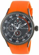New Nautica Multi-Function NST17 Orange Rubber 24 Men Watch 45mm N15651G $155