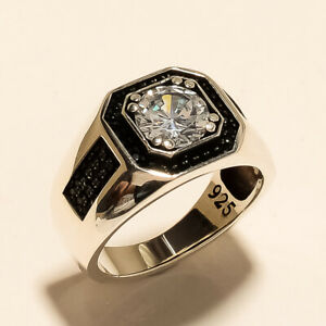 Wedding Ottoman Statement Real White Topaz Mens Ring 925 Steling Silver Jewelry