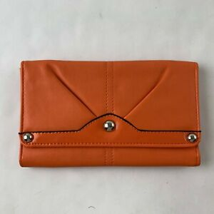 Wilsons Small Wallet Clutch Orange Faux Leather Snap Pockets Casual Outdoor