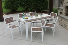 7pc Outdoor Dining Set White Aluminum & Brown Wood Finish New Rectangle Table