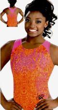 Simone Biles Gk Elite Leotard Gymnastics Atomic Tangerine Orange Sequin Bling Am