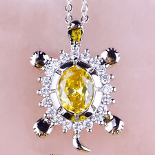 Oval Yellow Citrine White Topaz Gemstone Jewelry Silver Chain Necklace Pendant