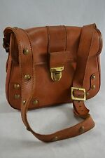 VINTAGE NORRIS 1950s brown leather shoulder bag saddle bag studded