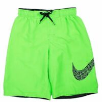 ec0c1351df Nike Boy's Core Solid Breaker Swoosh Poison Green Volley Shorts Swimwear  Large