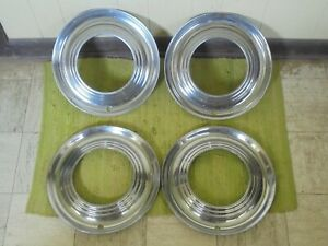 """RARE 1951 Ford Accessory Trim Beauty Rings 15"""" Set 4 Wheel Hubcap Surround 51"""