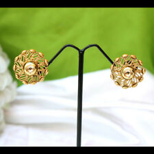 Indian Bridal Kundan Gold Plated Stud Tops Earring Set Ethnic Bollywood Jewelry