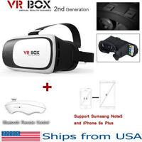 VR Box 2.0 Google Cardboard Virtual Reality 3D Glasses 2nd Gen Headset w/ Remote