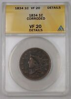 1834 US Coronet Head Large Cent 1c Coin ANACS VF-20 Details Corroded