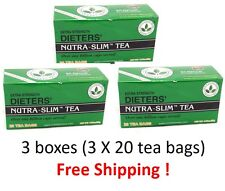 Dieters' Nutra-Slim Tea  Extra Strength Triple Leaves Brand 20 Tea Bags / 3Boxes