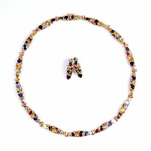 ITALY 14k Yellow Gold Bezel Set Colorful Multi-Stone Necklace & Earrings Set