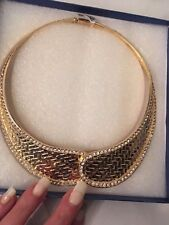 boxed crystal amazing chunky collar necklace 18k gold plated statement necklace