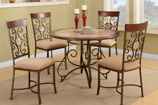Dining Room 5pc Set French Fashion Table Chairs Metal Framed Chair Faux Marble