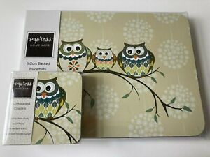 Set of 6 Owl Placemats & Coasters Dining Dinner Table Mats New!