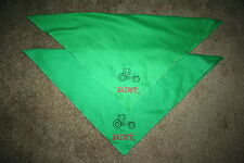 """John Dere DIRT"" 2 lg Green Napkins machine embroidered"