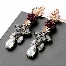 Women's Resin Rose Flower Crystal Rhinestone Ear Studs Drop Earrings Unique