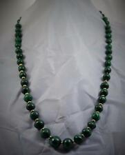 Superb vintage 9 ct gold Malachite graduated bead necklace 16 mm wide