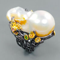 Design Jewelry Natural Baroque Pearl 925 Sterling Silver Ring Size 7/R94138