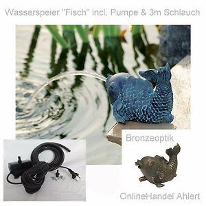 Teich Pumpe Wasserspeier Fisch Gartenteich Springbrunnen Garten Figur Dekoration