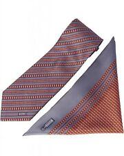 ZILLI - 100% Silk Tie & Pocket Square Set Grey|Burgundy 5362V06 MSRP $350