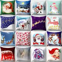 GI- Christmas Santa Sofa Car Throw Cushion Pillow Cover Case Home Decor Gift San