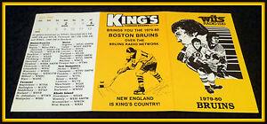 1979-80 BOSTON BRUINS WITS RADIO KINGS HOCKEY POCKET SCHEDULE FREE SHIPPING