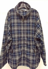 King Size Zip Front Long Sleeve Charcoal & Blue Plaid KING SIZE Fleece 4XL Big