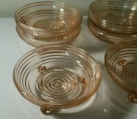 Manhattan Footed Candy Dishes set of 6 Vtg Pink Depression Glass Anchor Hocking