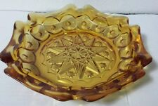 """Vintage LE Smith Amber Moon and Stars 8.5"""" Six-Sided Pressed Glass Ashtray 4288"""