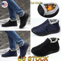 Mens Fur Lined Snow Ankle Boots Waterproof Slip On Flats Winter Warm Shoes Size