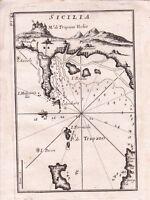 Carte Géographique XVIIIe Sicilia Sicile Silicy  Ile Formicola Trapani 1764