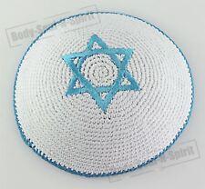 HIMMELBLAUER Davidstern gehäkelte Kippa ethnische jüdische Schädeldecke Israel