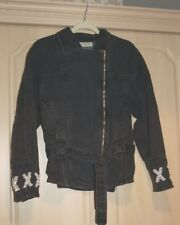 Ladies Jeans Jacket with Tie Belt Black Size 10/12 with stone & pearl embellishm