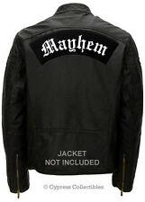 MAYHEM - EMBROIDERED BIKER PATCH - LARGE IRON-ON ROCKER REBEL MOTORCYCLE EMBLEM
