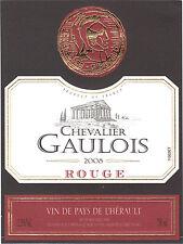 Etiquette de vin - Vin de pays de l'Hérault - Chevalier gaulois - 2008