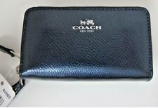 NWT Coach F63921 Crossgrain Leather Metallic Blue Double Zip SMALL Coin Wallet