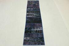 Orient Teppich Patchwork Läufer Vintage overdyed lila 310x70 Shabby Chic 1290