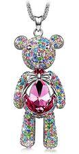 "Womens J.NINA ""Bear Princess""  Pink Swarovski Crystals Pendant Necklace"