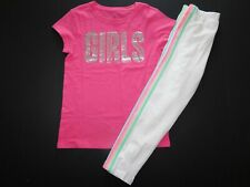 "NWT GAP Girls 2 Pc Set ""Girls"" T-Shirt & Striped Cropped Leggings Large New"