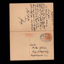 Germany WWI Railroad Cologne Hannover Cancel Double Answer Saalfeld Postal 7p