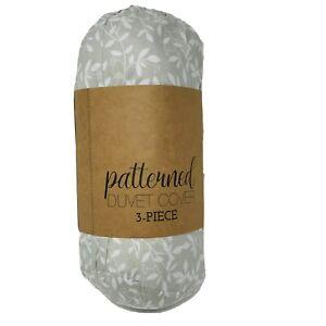 Vine Trellis Patterned Performance Gray Queen 3-Piece Duvet Cover Set Soft 33298